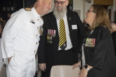 Commodore Wise sharing a joke with Capt Bond and Colin Bancroft.