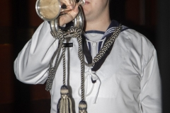 The RAN bugler playing Tapps and the Last Post