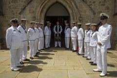 Australian Naval Cadets from T.S Perth forming a Guard of Honour with Chaplain Franco Siani RAN.