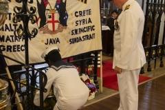 Capt, A. Morethorpe RAN laying a wreath on behalf of the Royal Australian Navy.