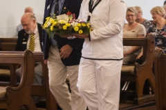 Trevor Vincent laying a wreath on behalf of the Navy League Australia, WA Divison.