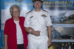 Mrs Betty Gray, widow of Perth survivor, Peter Gray, with Lt/Commander Chris Clevenger, USN.