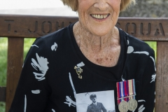 Mrs Avis Kenny holding a photo of the late son-in-law, Sub/Lt Albert Ball who died on the Perth