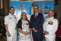From L to R,  Lt/Commander C. Clevenger USN, Capt. A. Bond, chair of the HMAS Perth (I) Memorial Foundation, Mr D. Gainer, US Consul General and Capt . A Morethorpe RAN.